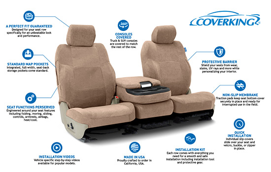 suede custom seat covers features