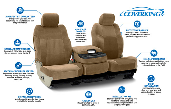velour custom seat covers features