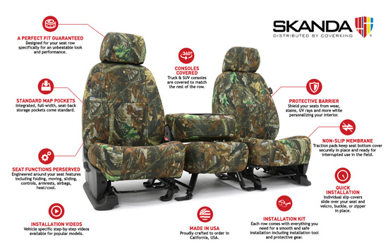 realtree custom seat covers features