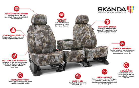 kryptek custom seat covers features
