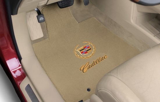 Cadillac Double Logo Velourtex Mats Tan Gold Driver