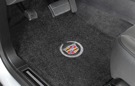 Cadillac Wreath and Crest Logo Ultimat Mats Ebony Driver