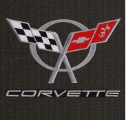 Corvette C5 Flags Silver Word Double-Mats-183