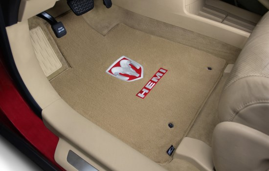 Ram Hemi Red Logo Velourtex Mats Tan Driver